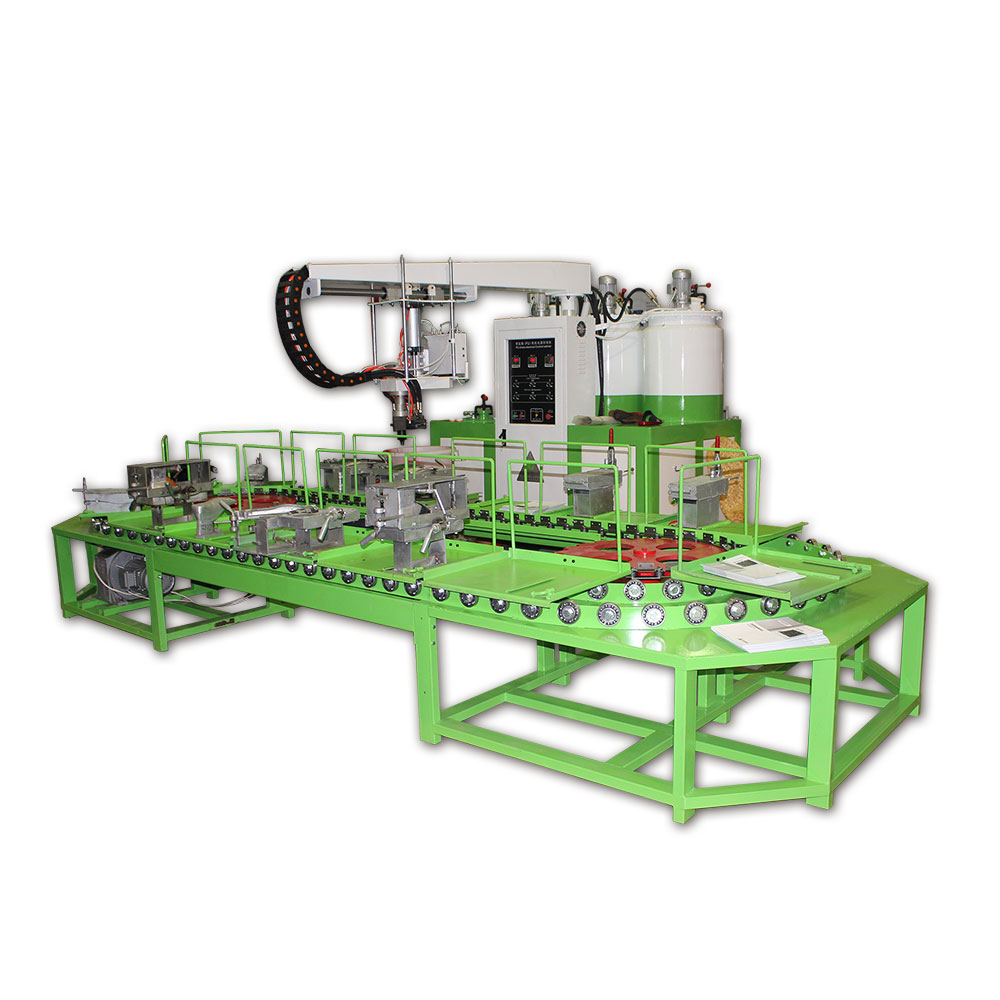 Two color double density pu inject machine
